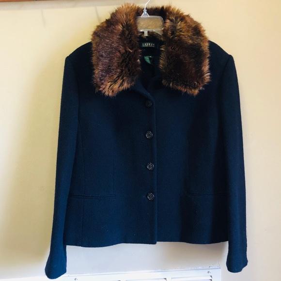 Ralph Lauren Navy Wool Coat Removable Fur Collar